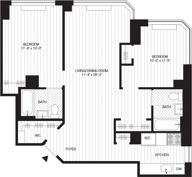 Learn more about Residence E, Floors 9-29 (2br)